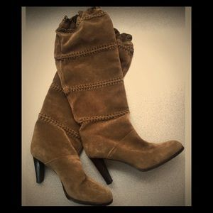 Coach olive suede knee high slouch boots